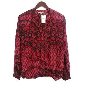 Lucky Brand Floral Pleat Blouse Medium Red
